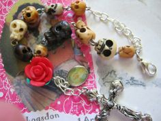 Day of the Dead Skull and Rose Rosary Bracelet by jansbeads