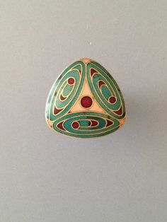 Antique French Enamel Button Triad Design in a Modified Triangular shape