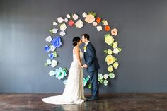Colorful paper flower backdrop