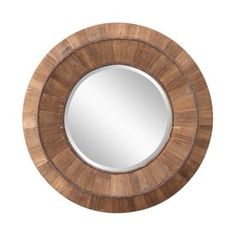 Andrea Natural Rustic Wood Mirror Cooper Classics Round Mirrors Home Decor Round Wood Mirror, Circular Mirror, Round Mirrors, Wall Mounted Mirror, Mirror Art, Beveled Mirror, Diy Mirror, Mirror Ideas, Transitional Wall Mirrors