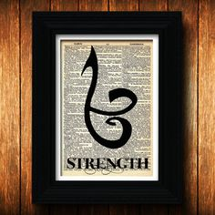 The Mortal Instruments Strength Symbol - Reclaimed dictionary page from the 50's - The mortal instruments poster The ShadowHunter Runes Art