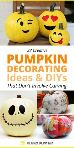 Looking for DIY Halloween pumpkin decorating ideas that don't involve carving? If you're not at all interested in Halloween pumpkin jack-o'-lantern carving ideas, you can still have festive, Halloween pumpkins without the slimy pumpkin guts. Most of these DIY fall pumpkin decoration ideas can be done with real or faux pumpkins and are the perfect no-mess, cheap DIY Halloween craft ideas for kids, especially when you use Dollar Tree craft supplies! No Carve Pumpkin Decorating, Pumpkin Carving, Halloween Pumpkins, Halloween Crafts, Homemade Crafts, Diy Crafts, Do It Yourself Organization, Faux Pumpkins, Decorating Ideas