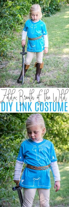 DIY Link Costume: Breath of the Wild - NO sewing involved in this easy, inexpensive, and fun costume for kids! ad