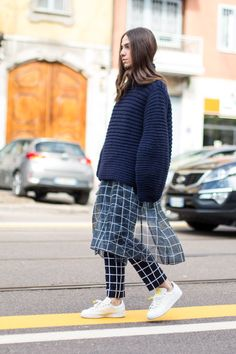 Laid-back, gridded cool at #MFW. #StreetStyle