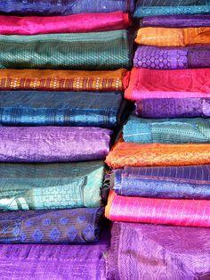 Sights of India: Sumptuous cloth found at the Anjuna Flee Market in Goa. Indian Fabric, Indian Textiles, Indian Colours, Amazing India, Goa India, Sari, Saree Dress, Of Wallpaper, Fabric Patterns