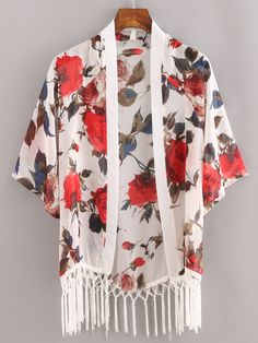 Shop Macrame Fringe Flower Print Chiffon Kimono - White online. SheIn offers Macrame Fringe Flower Print Chiffon Kimono - White & more to fit your fashionable needs.