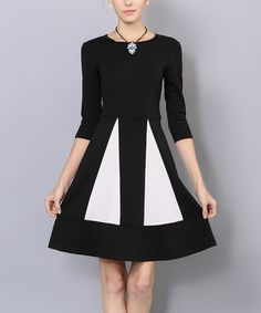Loving this Black & White Pleated Fit & Flare Dress on #zulily! #zulilyfinds