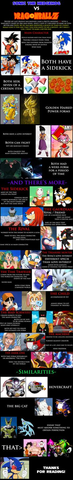 I knew there were many similarities between Sonic the Hedgehog and Dragon Ball Z, but I never knew there were THIS many similarities!! O_O
