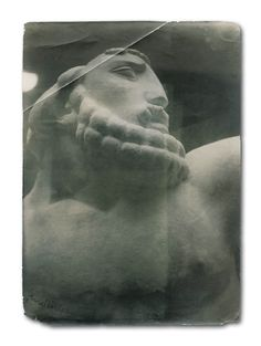"1914 ""Goliath"" by LEON INDENBAUM 1890-1981. Old photo of a monumental sculpture in marble (Collection of the Museum of Art and History of Judaism - Paris)"