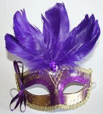Purple Feathered Carnival Venetian Mardi Gras Mask