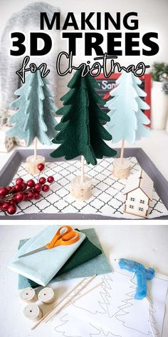 Make your own adorable 3D Christmas tree decor with felt and a few other supplies following this simple no-sew pattern. #sustainmycrafthabit 3d Christmas Tree, Christmas Tree Pattern, Modern Christmas, Christmas Tree Decorations, Holiday Decor, White Christmas, Holiday Ideas, Pinterest Christmas Crafts, Christmas Craft Projects