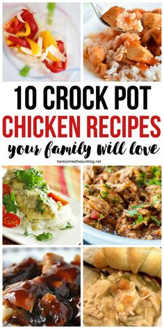 These chicken crock pot recipes are easy to make and super delicious! Perfect for busy weeknight dinners for the family Best Crockpot Recipes, Easy Chicken Recipes, Slow Cooker Recipes, Cooking Recipes, Crockpot Ideas, Crockpot Dishes, Top Recipes, Steak Recipes, Diabetic Recipes