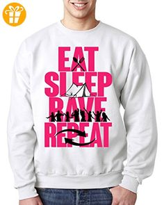 Eat Sleep Rave Repeat Pink Letters Tent Graphic Design Sweatshirt Unisex XX-Large (*Partner-Link)