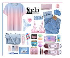 """""""SHEIN - Blue-Pink-Ombre-T-shirt"""" by fashionaddict-il ❤ liked on Polyvore featuring Levi's, Converse, The Cambridge Satchel Company, Nails Inc., Maybelline, Organix, Lancôme, NARS Cosmetics, beautyblender and Neutrogena"""