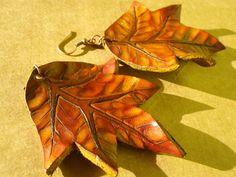 leather leafy earrings ~ livit vivid