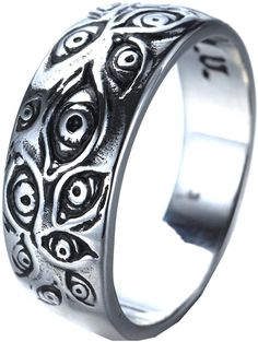 Cute Jewelry, Jewelry Accessories, Grunge, Titanium Wedding Rings, Dragon Jewelry, Evil Eye Ring, Gold Eyes, Stainless Steel Rings, Enamel Jewelry