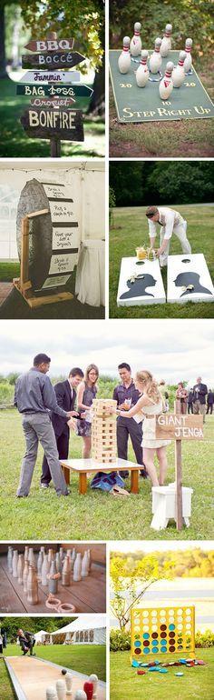 Fun backyard games for a wedding reception.