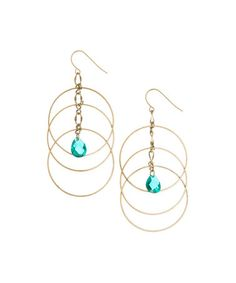 Love this Gold & Turquoise Hoop Chandelier Earrings on #zulily! #zulilyfinds