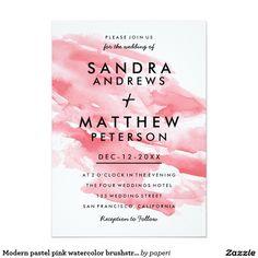 Modern pastel pink watercolor brushstrokes wedding