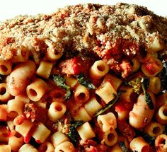 Baked Ditalini  With spicy sausage, broccoli rabe, and white beans