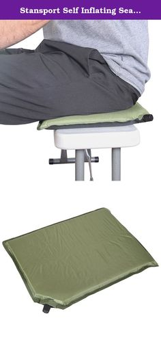"Stansport Self Inflating Seat Cushion, 12"" X 16"". The self-inflating seat cushion provides lasting comfort at sporting events, camping trips, or long car rides. This cushion features durable rip-stop polyester and an easy self-inflating system. SIZE: 12-inches x 16-inches. Color: green."