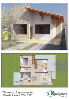 Planta de casa com 2 quartos a de frente - Cód. 117 - House Plans, etc. Modern House Plans, Small House Plans, House Floor Plans, Villa Plan, Exterior Design, Interior And Exterior, Plan Chalet, Small House Design, Home Design Plans