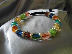 Multicolor macrame bracelet, beaded bracelet, adjustable bracelet SP 00023 by MichelleElaineDesign on Etsy