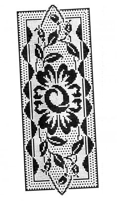 Heklani Radovi By Vicka 106 Crochet Table Runner, Crochet Tablecloth, Crochet Doilies, Cross Stitch Borders, Cross Stitch Flowers, Cross Stitch Patterns, Filet Crochet Charts, Crochet Diagram, Crochet Home