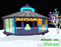 Second Life Christmas Lights Set, decorated winter gazebo