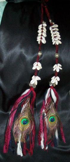 Red Tribal Belly Dance Cowrie Tassel Hair Falls