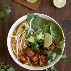 Thirty Minute Vegetarian Pho Recipe Main Dishes with low sodium vegetable broth, green onions, fresh ginger, salt, butter, shiitake, hoisin sauce, sesame oil, rice noodles, beansprouts, jalapeno chilies, basil, fresh cilantro, hoisin sauce, lime wedges, garlic chili sauce