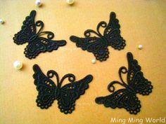 Black Lace Applique 4 PCS Black Little Butterfly by mingmingworld, $3.00