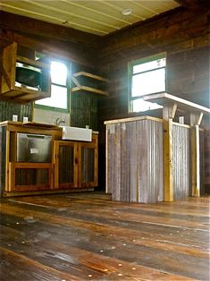Interior of a Reclaimed Space recycled house. Prefab Cabins, Prefab Homes, Maximize Small Space, Recycled House, Cabin Kitchens, Cabin Interiors, House Ideas, Cabin Ideas, Tiny Spaces
