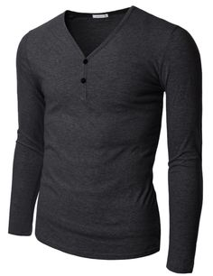 Mens Long Sleeve V-Henley Neck T-Shirts (KMT016)