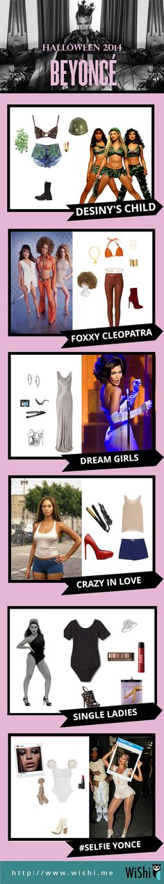 6 Easy DIY Beyonce Halloween Costumes. You can dress up as Beyonce from Destiny's Child, Dream Girls, Foxxxy Cleopatra, Single Ladies Beyonce, or Selfie Yonce. Get the Halloween Costumes below. #Halloween #DIYHalloweenCostume #Beyonce #Yonce