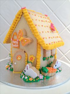 Easter gingerbread house, but made using shortbread! By Sublime Cookies Gingerbread House Parties, Christmas Gingerbread House, Gingerbread Cake, Gingerbread Houses, Easter Candy, Hoppy Easter, Passover And Easter, Cracker House, Easter Biscuits