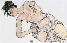 Egon Schiele - Kniender weiblicher Halbakt, 1917. Gouache, black crayon, wash and pencil on paper,