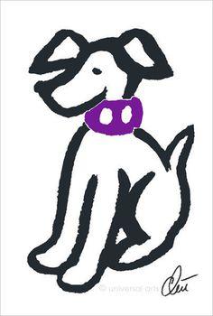 JACQUELINE DITT - Hund m.lila Halsband Original Grafik handsigniert Bilder Tier