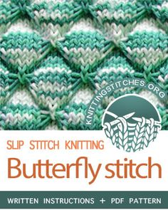 "The stitch is called ""Butterfly stitch"" but it reminds me more of little spiders or crabs. I love this the Butterfly stitch using the striped yarn. Slip Stitch Knitting, Knitting Basics, Lace Knitting Patterns, Knitting Stiches, Knitting For Beginners, Loom Knitting, Stitch Patterns, Knit Stitches, Knitting Tutorials"