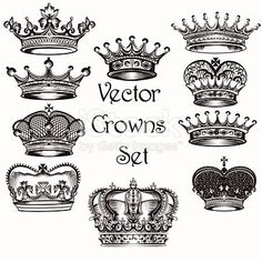 Vector set of crowns for your heraldic design