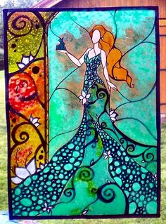 WICOART WINDOW COLOR STICKER CLING FAUX STAINED GLASS VITRAIL FROG FAIRY FEE