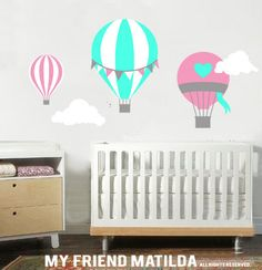 Mongolfiera palloncini M001 arancione Wall Decal Sticker Nursery Culla Baby on Etsy, 54,41 €