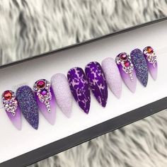 Items similar to Purple Oceanic Ombre Distressed Foil Fairy Dust Swarovski Crystals Matte Press On Nails Stiletto Nails, Coffin Nails, Acrylic Nails, Prom Nails, Wedding Nails, Nail Designs Spring, Nail Art Designs, Spring Nails, Summer Nails