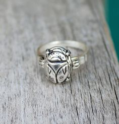 Scarab Jewelry - Art Deco Egyptian Revival Scarab Beetle Ring - Sterling Silver - Handmade by Sirius Lux