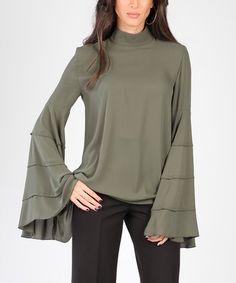Carla by Rozarancio Khaki Bell-Sleeve Top Bell Sleeves, Bell Sleeve Top, Summer 2014, Hue, Elegant, Blouse, Tops, Women, Style