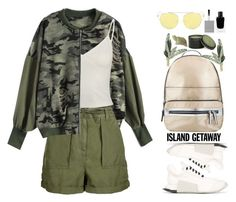 Chic Island Getaway (casual) by beebeely-look on Polyvore featuring Topshop, Rick Owens, Miss Selfridge, Givenchy, Archipelago Botanicals, Gold Eagle, casual, camouflage, camostyle and islandgetaway