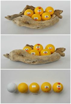 Cute Little Chicks from Upcycled Golf Balls.                                           Gloucestershire Resource Centre http://www.grcltd.org/scrapstore/