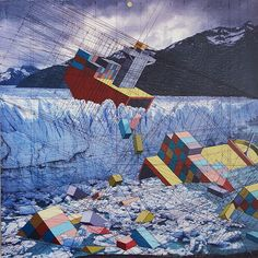 """Stephanie Buer & Mary Iverson """"After"""" @ Thinkspace Gallery, Culver City: maryiverson_Glacier,-12-x-12-inches,-acrylic,-ink,-found-photograph..."""