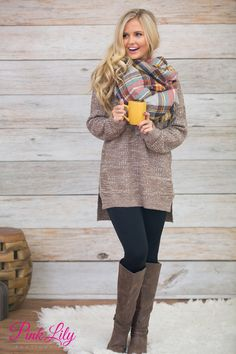 """This sweater will so """"mocha"""" you happy! You'll never worry about finding something cute to wear in cold weather while still looking super cute when you have this in your closet!"""