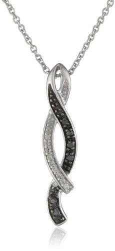 """Sterling Silver and Black and White Diamond Twist Pendant Necklace (0.07 cttw, I-J Color, I2-I3 Clarity), 18"""" Amazon Curated Collection,http://www.amazon.com/dp/B008YS9UDS/ref=cm_sw_r_pi_dp_bT5Osb1VX5BSB6X4"""